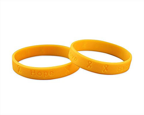 Fundraising For A Cause 25 Pack Child Childhood Cancer Awareness Gold Silicone Bracelets - Child Size - (25 Bracelets - Wholesale)