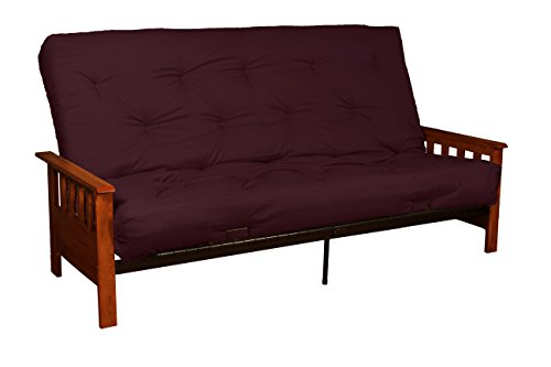 Berkeley 8-Inch Loft Inner Spring Futon Sofa Sleeper Bed, Queen-size, Walnut Arm Finish, Twill Burgundy Upholstery