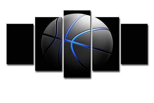 Paint By Number Canvas Ball - Mytinaart Art - Paintings Modern Canvas Wall Art Sports Ball Game Picture Home Decor Poster 5 Pieces Blue Light Sports Basketball For Living Room HD Printed Painting - Unframed Price Only Print Canvas