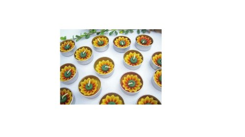 Relax Spa Shop @ Sun Flower Candle in Tea Lights , Floating Candles, Scented Tea Lights ,Aromatherapy Relax (Sun Flower Candle in Tea Lights Pack of 10 Pcs.)