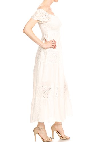 Anna Boho Smocked Long Dress Shoulder Maxi Sheer white Womens Off Semi Lace Off Kaci pqrwp