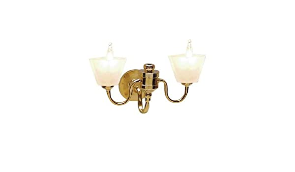 1:12 Dollhouse Miniature Working Wall Lighting Double Lamp White Flower Shade