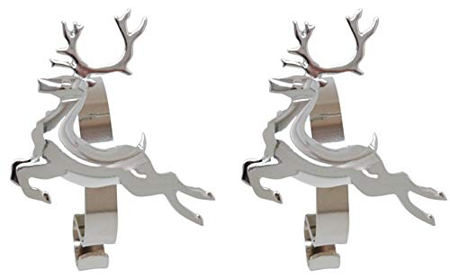(Haute Decor The Original MantleClip Stocking Holder with Removable Holiday Icons, Silver 2-Pack (Reindeer Icons))