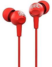 JBL C100SI Ultra-Lightweight in-ear Headphones, Red