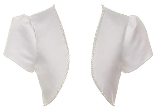 BluNight Collection Bridal Satin Rhinestones Jacket Shrug Big Girl Flower Girl Dress Communion Bolero (00TR3) White 12