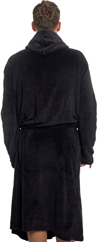 9928e16704 Ross Michaels Mens Hooded Robe – Plush Shawl Kimono Bathrobe (Black ...