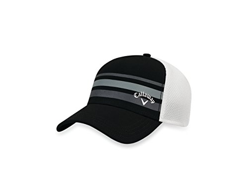 Callaway 2017 Stripe Mesh Hat, Black/White, Small/Medium