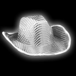 LED Flashing Cowboy Hat with White Sequins by Blinkee (Hat Cowboy Sequin)