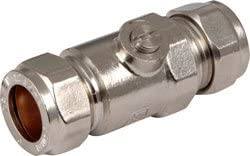 JOBLOT 5 x 15MM WATER PLUMBING ISOLATOR VALVE CHROME-PLATED COMPRESSION NEW