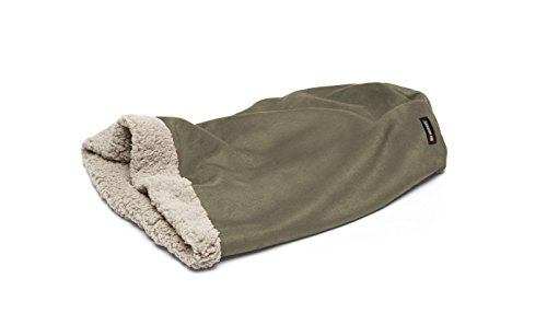 Big Shrimpy Den Pocket Bed Dog Bed, Faux Suede and Fleece, Medium, Stone