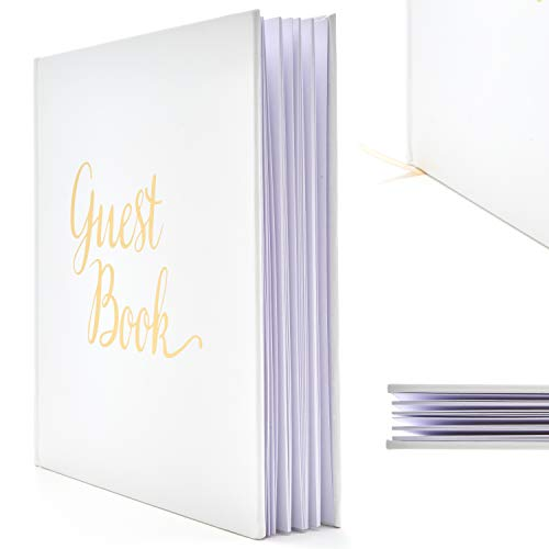 Blank Wedding Guest Book Guestbook White Paper with No Lines - Registry Books - Gold Foil Stamping and 180GSM Paper 32 Pages 64 Sides Square