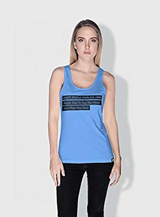 Creo Short People Problem Funny Tanks Tops For Women - L, Blue