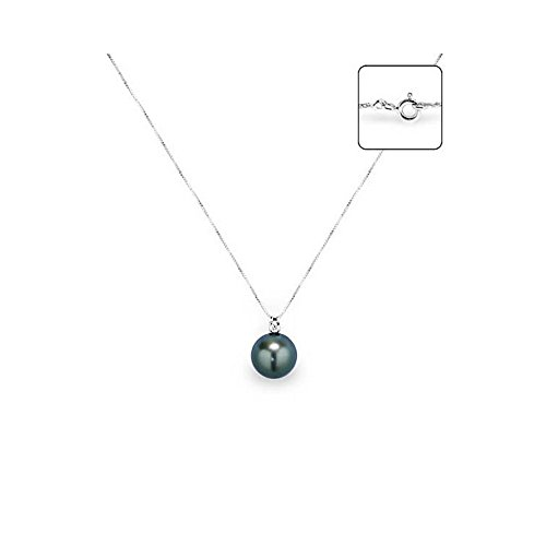 Pendentif Perle de Tahiti, Diamants et Or Blanc 750/1000 -Blue Pearls-BPS K018 W