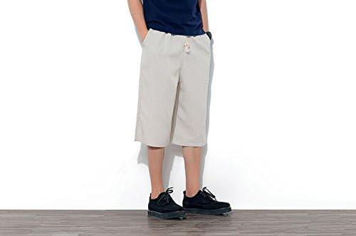 ハーフパンツ メンズ ショートパンツ トレーニング 七分丈 麻混素材 リラックス 夏 3color