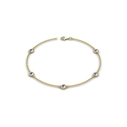 TriJewels Petite Tanzanite by the Yard 5 Stations Bracelet 0.45 ct tw in 14K Yellow Gold