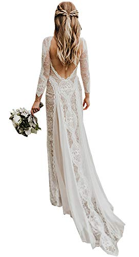 Women's Long Sleeves Lace Beach Wedding Dresses for Bride 2019 Vintage Bohemian Bridal Gown Light Champagne US4