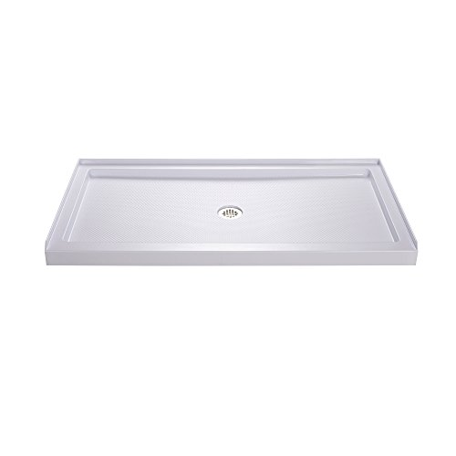DreamLine SlimLine 32 in. D x 54 in. W x 2 3/4 in. H Center Drain Single Threshold Shower Base in White