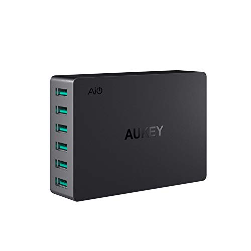 AUKEY USB Wall Charger 6 Port 60W, Multi Port Desktop USB Charging Station, Compatible with iPhone Xs/Xs Max/XR, iPad Pro/Air/Mini, Samsung Note8 / S8, and More