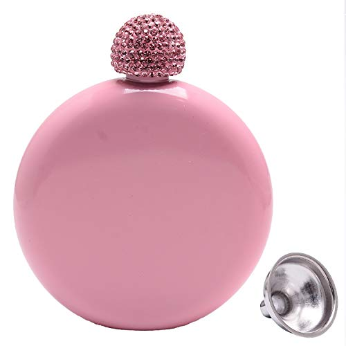 Humphrey Amelia 5oz Hand Size Booze Shot Flask Stainless Steel Wine Flask with Crystal Lid and funnel Bachelorette Party Bridesmaid Gift (pink with pink lid)