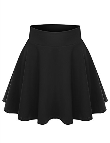 ALL FOR YOU Women's Crepe Pattern Versatile Stretchy Flared Skater Skirt Black XX-Large