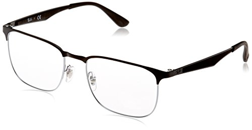 Ray-Ban RX6363 Square Metal Eyeglass Frames, Black On Silver/Demo Lens, 54 mm