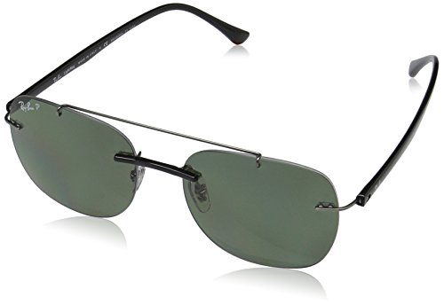 Ray-Ban Men's Injected Man Polarized Square Sunglasses, Black, 55 - Square Ray Aviator Ban