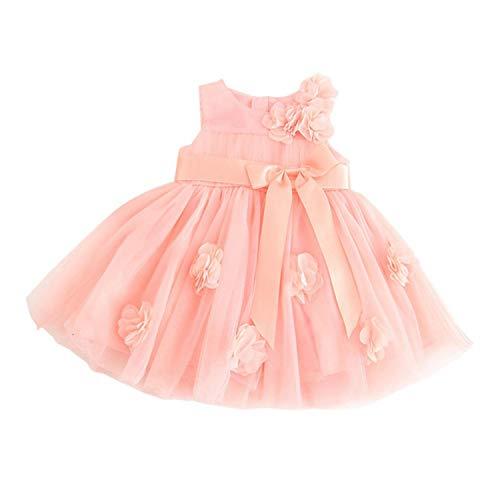 Summer Casual Baby Girls Sleeveless 3D Floral Design Dress Kids Toddler Princess Pageant Sundress Black 9M