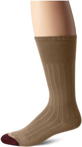 Allen Edmonds Men's Cotton Rib Mid Calf Socks, Khaki, X-Sock Size:10-13/Shoe Size: 6-12/Standard ()