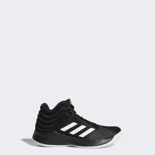 adidas Unisex-Kid's Pro Spark 2018 Basketball Shoe, Black/White/Grey, 5 M US Big Kid
