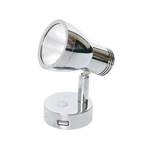 (3W RV Stepless Dimming Reading Lights 12V Warm White Aluminum Shade Chrome has USB Socket, Built-in Sensitive Touch Premium Interior Lamps, Exclusive Hidden Mounting, 10-30V for Vehicle, Caravan, Boat)