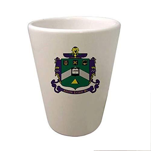 (Greekgear Delta Sigma Phi Crest Ceramic Collectors Glass Gloss White)