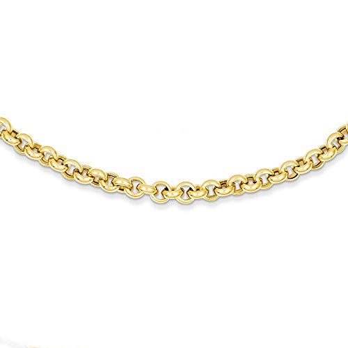 5mm Rolo Link (Solid 14k Yellow Gold 18in 5mm Polished Fancy Rolo Link Necklace Chain 18