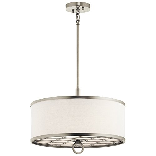 Semi Flush 3 Light with Brushed Nickel Finish Steel Material Medium 18 inch 300 Watts