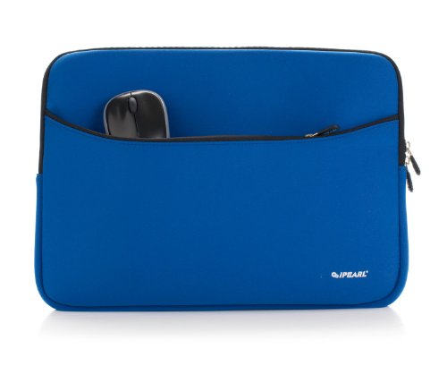 iPearl 14-inch Soft Neoprene Sleeve Case for MacBook & UltraBook laptop (built-in external pocket) (BLUE)