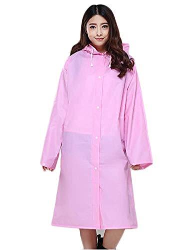 Con Color Poncho Outdoor Eva Lluvia Capucha De Libre Impermeable Chaqueta Sólido Mochila Huixin Al Rosa Aire Unisex wHS0Sq