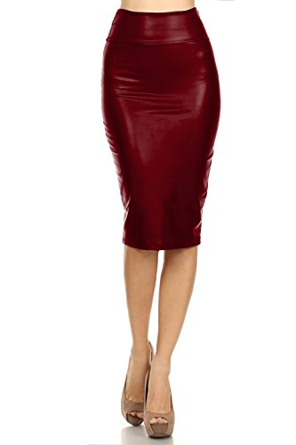 Women's High Waisted Versatile Faux Leather Midi Pencil Skirt (Small, Wine)
