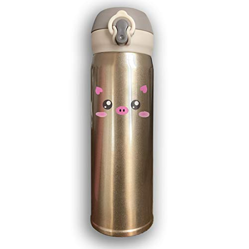 (Cute Kawaii Pink Piggy Stainless Steel Mug Sport Bottle With Loop Cap For Hot And Cold, 17-Ounce)