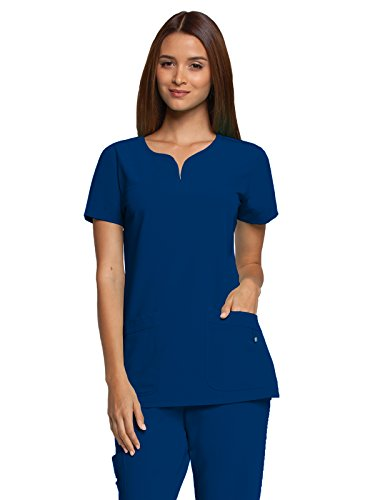 Grey's Anatomy Signature Women's Two Pocket Notch Yoke Neck Scrub Top, Indigo, (Grey Pocket)