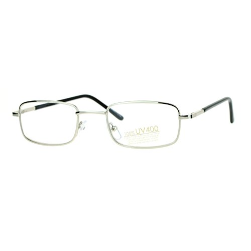 Small Thin Metal Rectangle Clear Lens Eyeglasses Spring Hinge Glasses - Polycarbonate Glasses Lens