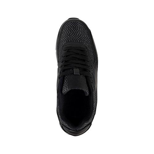 Elara Trendige Unisex Sneaker | Damen Herren Kinder Sport Laufschuhe | Turnschuhe | Chunkyrayan Black Glitzer Paris