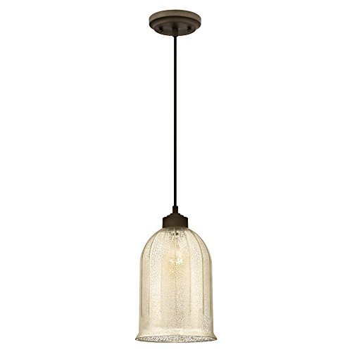 Westinghouse Lighting 6328600 One-Light Indoor Mini Pendant, Oil Rubbed Bronze Finish with Antique Mirror Glass
