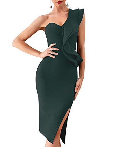 Whoinshop Women's One Shoulder Side Split Celebrity Cocktail Party Bandage Dress (S, Green)