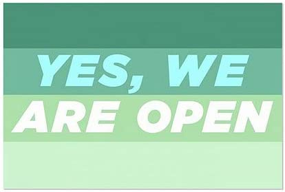 5-Pack   27x18 We are Open -Modern Gradient Window Cling CGSignLab  Yes