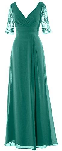 MACloth Women V Neck Chiffon Lace Long Prom Dress Formal Party Evening Ball Gown (EU40, Azul Marino Oscuro)