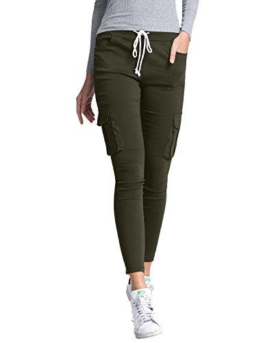 Casual Slim Eleganti Tasche Donna Skinny Lunghi Militare Pantaloni Moda Yoga Styledome Verde UYq8xXRwX