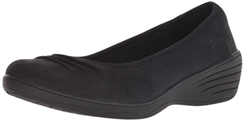 Skechers Women's KISS-Ruffled-Rouched Vamp Skimmer Ballet Flat, Black, 11 M US