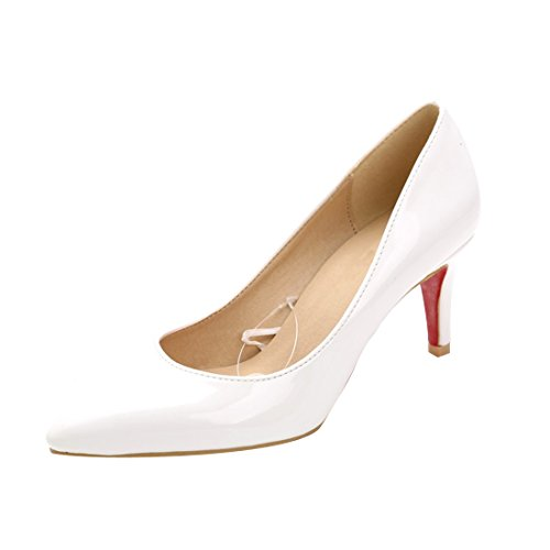 Toe Women's Kitten Pumps Sole HooH Leather White Pointed Patent Red HI0Odq40