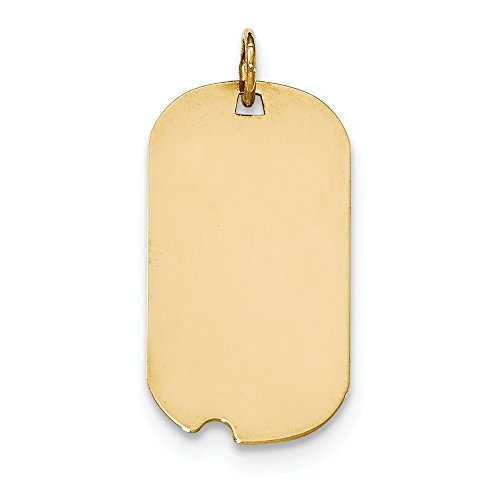 14K Solid Yellow Gold Plain .011 Gauge Engraveable Dog Tag with Notch Disc Charm