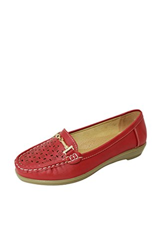 Mocassino Donna In Morbida Ecopelle Traforata Mocassino Slip On Shoes (vivi-02) Rosso