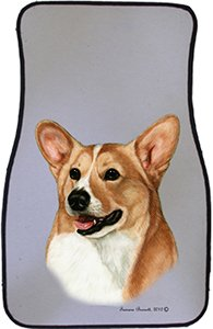 Fawn White Corgi Car Floor Mats - Carepeted All Weather Universal Fit for Cars & Trucks